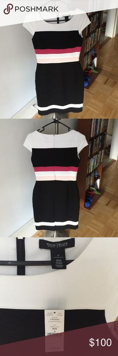 NWT WHBM colorblock sheath Gorgeous sheath dress. Brand new with tags. Black, white, and two shades of pink White House Black Market Dresses Wedding