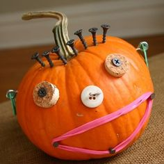 The best pumpkin decorating ideas are the ones that won't cost you a cent! Grab items from around the house to create this totally unique Junk Drawer Pumpkin | AllFreeKidsCrafts.com