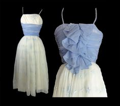 Vintage 1950s Party Dress Blue and White by susiesboutiquecloths