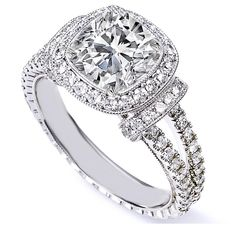 GIA Certified 2.15Ct D-E Cushion Cut Halo Diamond Engagement Ring 18K White Gold