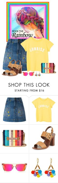 """""""Rainbow Bright"""" by seafreak83 ❤ liked on Polyvore featuring Alice + Olivia, MANGO, Sophie Hulme, Tory Burch, Jimmy Choo and Rebecca Minkoff"""