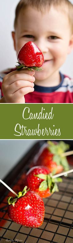 I love these candied strawberries, like a candied apple, a glorious crunch with a ripe strawberry center, these are a huge hit at our house