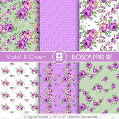 Violet Floral Papers Rose Digital Paper Pack by blossompaperart