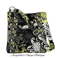 "NEW VERA BRADLEY LARGE HIPSTER in ""BAROQUE"" Black White & Yellow CROSSBODY PURSE #VeraBradley #MessengerCrossBody"