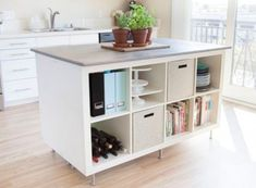 an Expedit bookcase turned into a comfy kitchen island