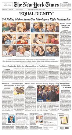 Poynter: Front pages from all 50 states on the same-sex marriage ruling
