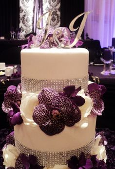 Rhinestones & Deep Purple Orchids Wedding Cake