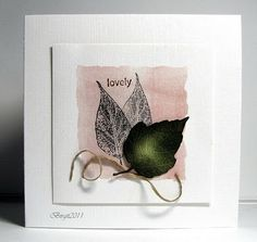Word from Stampin Up, Leaf stamp from Artemio, Green leaf a Cherry Lynn die.  Ink: Distress Inks