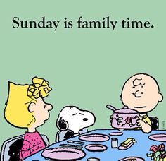 Sunday is family time. Charlie Brown and Snoopy Peanuts Gang, Die Peanuts, Peanuts Cartoon, Charlie Brown And Snoopy, Snoopy Cartoon, Schulz Peanuts, Snoopy Comics, Cartoon Fun, Peanuts Comics