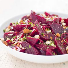 Cooks Illustrated- beets with almonds. I always roast beets the exact same way, this looks like a yummy alternative! (I'll use ACV instead of vinegar and sugar)