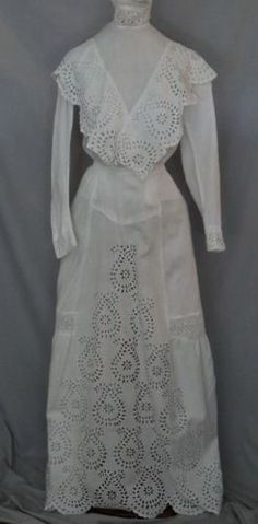 Edwardian White Cut Work / Eyelet 2 PC Tea Dress Skirt / Blouse sm