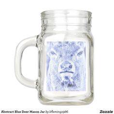 Abstract Blue Deer Mason Jar