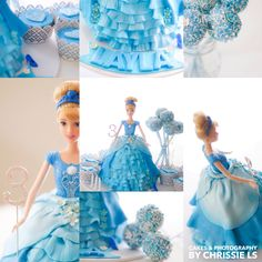 Cinderella doll cake love, complete with cake pops and cupcakes for a super sweet 3 year old little princess