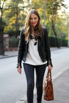 Fashion and style: Red lips ... black leather jacket sunglasses handbag brown white sweater women outfit clothing style apparel fashion