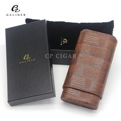 Galiner Portable Leather Cedar Wood Lined Cigar Case - Richard Cutters - Cigar Accessories Leather Cigar Case, Cow Leather, Cigar Holder, Cigarette Holder, Black And Brown, Red And Blue, Travel Humidor, Cigar Tube, Premium Cigars