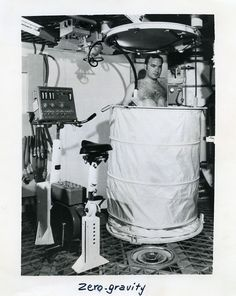 Vintage anonymous Studio Photo. Titled in red ink on back Zero gravity shower and NW (Newsweek) 14/5/73 p.69 - Size (inches): about 8x10 - Date: ca 1973 - Location: USA - Condition: Silver print, good condition, light creases - Sellers reference: M02573