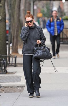 Black Balenciaga City bag and Swedish Hasbeens boots worn by Julianne Moore