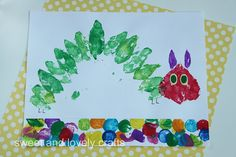 Leaf Print Hungry Caterpillar -- have Mia make one for the library!