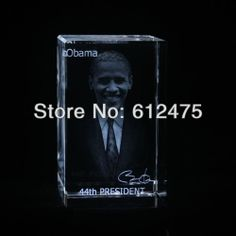 3D laser image Obama souvenirs gifts/crystal gift for 45th president of united states/paperweight $30.25
