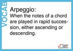 #piano #vocabulary #Arpeggio: When the notes of a chord are played in rapid succession, either ascending or descending.