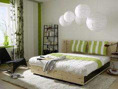 rideau vert de design original dans chambre coucher - Vert Chambre Feng Shui