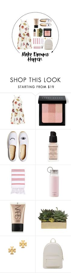 """""""Make your dreams happen."""" by megspiration ❤ liked on Polyvore featuring Topshop, Bobbi Brown Cosmetics, Soludos, Givenchy, Turkish-T, Kate Spade, NARS Cosmetics, Jayson Home, Tory Burch and PB 0110"""