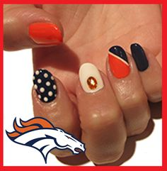 Denver Broncos Football Inspired Nail Art!  For a step by step tutorial on how to acheive this look, go to: www.pinterest.com/stepheniewise/