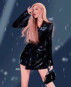 Black Pink Yes Please – BlackPink, the greatest Kpop girl group ever! Lisa Blackpink Wallpaper, Kpop Drawings, Black Pink Kpop, Digital Art Girl, Blackpink Photos, Blackpink Fashion, Rose Art, Kpop Fanart, Anime Outfits