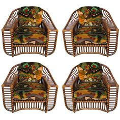 Home Decor Objects Ideas & Inspiration : A set of four c. teak and rattan chairs Antique Dining Chairs, Gray Dining Chairs, Vintage Chairs, Upholstered Dining Chairs, Rattan Chairs, Rattan Furniture, Vintage Furniture, Kids Hanging Chair, Long Chair