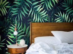 Tropical Leaves Wall Mural Green Pattern Wallpaper Self-Adhesive Peel Stick #Unbranded #Modern