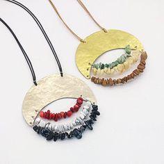 Stone chip Necklace, Long Brass Necklace, Long Alpaca Necklace, Multicolor Necklace, Boho Necklace, Long Pendant