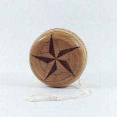 Wood Yo-Yo  Star  Pyrography  BKInspired by bkinspired on Etsy