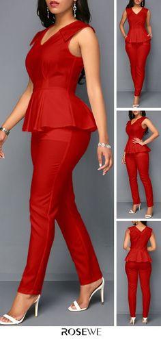 fashion Hot Sale & V Neck Sleeveless Peplum Waist Summer Cute Chic Women Red Fashion Jumpsuit African Fashion Ankara, Latest African Fashion Dresses, African Print Dresses, African Print Fashion, African Dress, Classy Dress, Classy Outfits, Chic Outfits, Dress Outfits