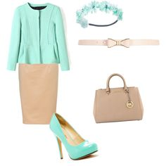 Mint and beige ! Made my nataly3198 on polyvore