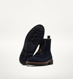 BLUE SUEDE ANKLE BOOTS WITH BROGUING - New - Footwear - MEN - Netherlands - Massimo Dutti