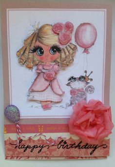 Happy birthday card to a young girl. 3d, curly locks, roses, balloons, cat, easel card.