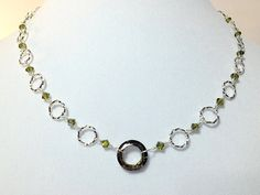 Silver Rings Wire Wrapped Crystal Necklace by XntricCreations, $62.00