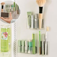 Organize makeup by mounting bins to the wall. Check the dollar store?