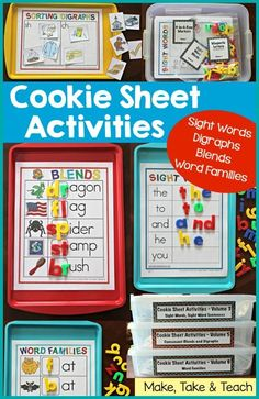Sheet Activities for blends, digraphs,sight words and word families!Cookie Sheet Activities for blends, digraphs,sight words and word families! Literacy And Numeracy, Kindergarten Centers, Early Literacy, Kindergarten Reading, Preschool Learning, Kindergarten Classroom, Classroom Activities, Activities For Kids, Teaching