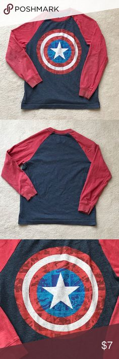 Old Navy Boys Marvel Comics Captain America Tee Celebrate your favorite super hero! This long sleeve gray Captain America tee is soft and comfortable. The tee has red sleeves and a gray body. It is made of 52% cotton and 48% polyester. Old Navy Shirts & Tops Tees - Long Sleeve