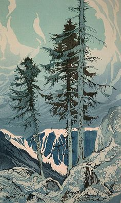✨ Oscar Droege (1898-1983) - Der Wasserfall, Farb-Holzschnitt ::: The Waterfall, Colour Woodcut