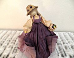 Vintage Nan's Corn Husk Doll:  Purples, Egg Basket
