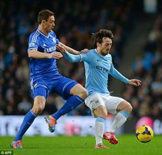 Manchester City v Chelsea  - Matic tussles with Silva