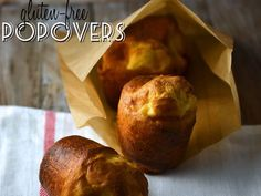 Just a few simple gluten free pantry ingredients are all it takes to make warm, airy and perfect gluten free popovers. Perfect for breakfast or to round out any meal!