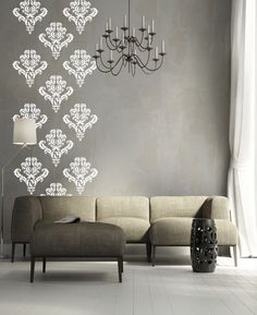 Damask pack of 10 vinyl wall decals #livingwall