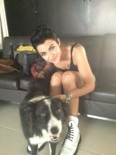Ruby Rose - short black hair & cute dog