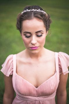 Romantic Blush Bridesmaid Dress | Maddie K. Doucet Photography | See More! http://heyweddinglady.com/punk-princess-bride-wedding-styled-shoot-from-maddie-k-doucet-photography/