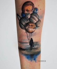 Universe balloons tattoo