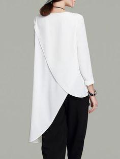 Cream Asymmetrical Simple Tunic