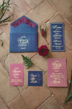 red and blue wedding invitations - photo by Darya Kamalova http://ruffledblog.com/vintage-inspired-italian-alps-wedding